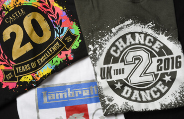T-shirts with printed branding