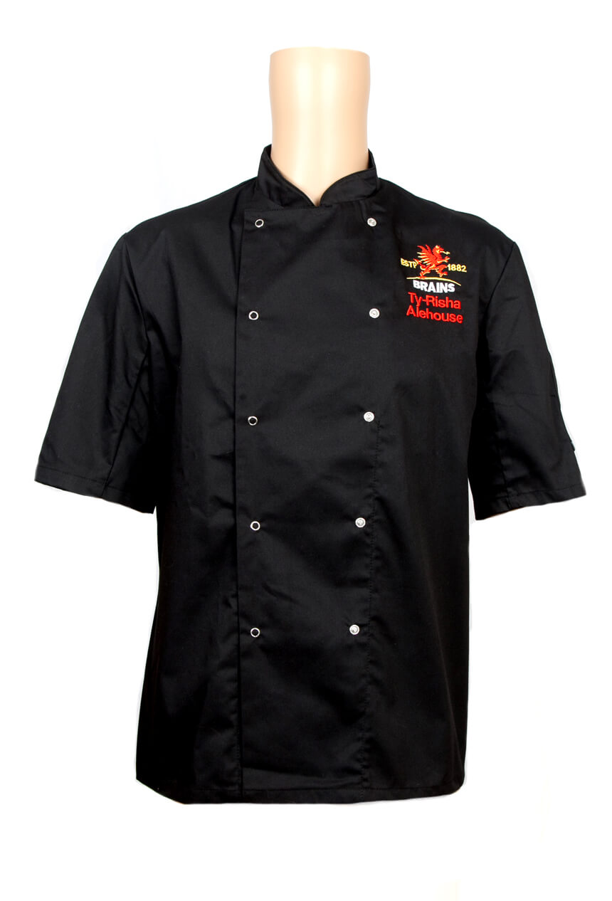 Brains black and embroidered chefs uniform