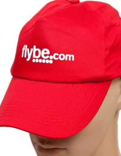 Red embroidered flybe cap