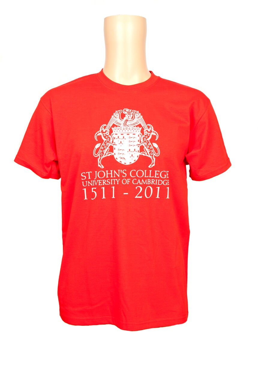 St Johns College red t-shirt