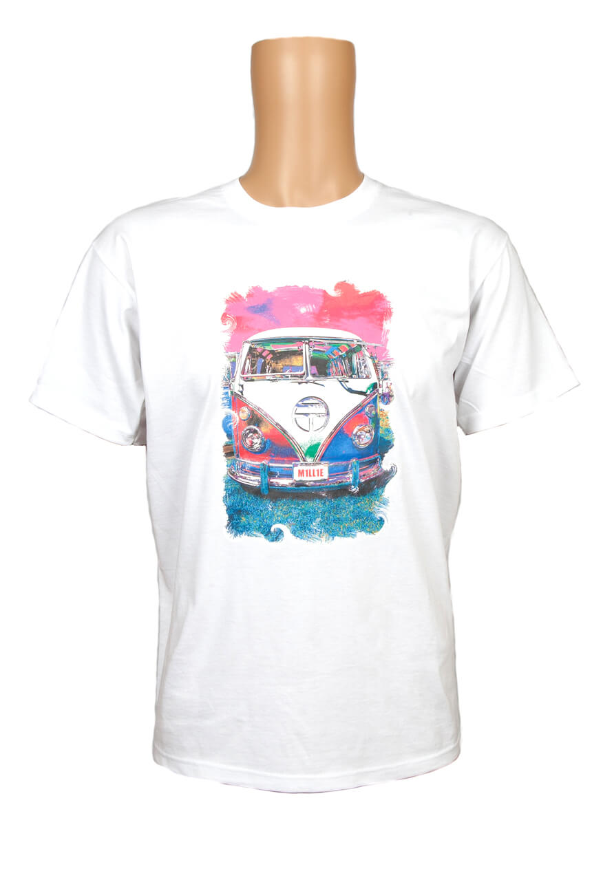 VW Campervan screen printed on a white shirt