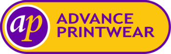 A purple variation of the Advance Printwear logo