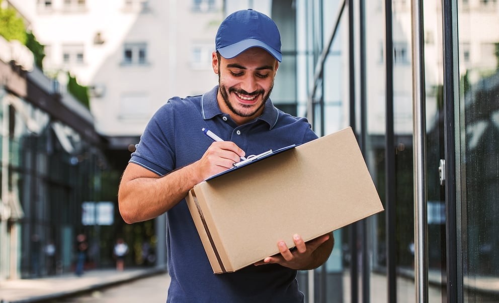 Delivery worker in polo shirt uniform