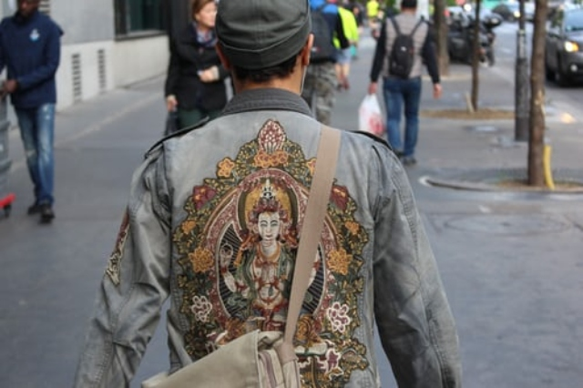 Man wearing modern embriodered jacket